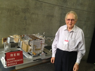 Picture of my Dad near a mockup of the Mars Rover Electronics Module